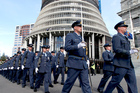 A 200 strong RNZAF Royal Guard of Honour marching along Parliament Forecourt to celebrate their 75th Anniversary. Photo / Mark Mitchell
