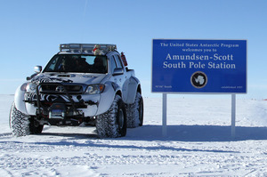 Specially-equipped Toyota Hilux 4x4s after a gentle cruise to the South Pole. Photo / Supplied