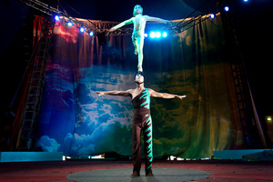 Acrobats play a big role in the animal-free acts the Zirka Circus is performing at the Easter Show.  Photo / Steven McNicholl