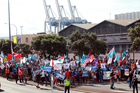 A protest march regarding the Ports of Auckland. Photo / Doug Sherring