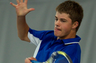 Trent Smith of St Kentigern College in action in the team finals at Albany Tennis Park. Photo / Brett Phibbs