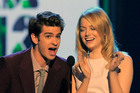 Andrew Garfield, left, and Emma Stone at Nickelodeon's 25th Annual Kids' Choice Awards. Photo / AP