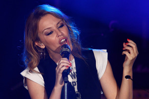 Kylie Minogue, who's music is published by HMV, performs in Manchester. Photo / AP