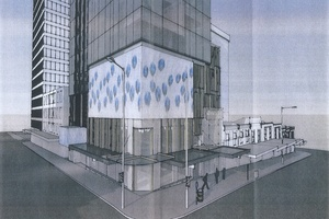The black-toned glass building will feature two storeys of LED screens. Photo / Supplied