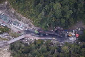 The Pike River coal mine from the air after the explosion. File photo / NZ Herald