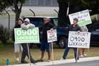Union members protest outside the Horotiu Affco freezing works. Photo / Richard Robinson