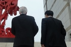 Trade Minister Tim Groser and National MP Jian Yang visit Chongqing's Planning Museum for the new development zone. Photo / Supplied