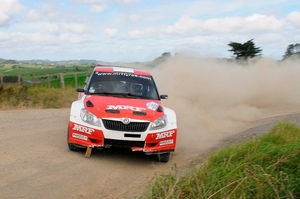 Chris Atkinson in action on the first day of the International Rally of Whangarei. Photo / Geoff Ridder