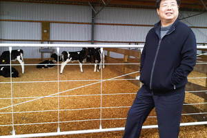Shanghai Pengxin chairman Jiang Zhaobai inspects a Waikato dairy shed. Photo / Supplied