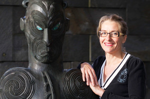 Gus Fisher Gallery director Linda Tyler with a Lyonel Grant sculpture. Photo / Richard Robinson