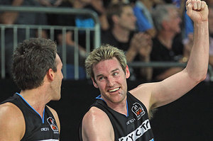 Dillon Boucher of the Breakers celebrates during game three of the NBL Finals series. Photo / Getty Images