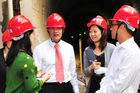 Mayor Len Brown visits the Guangzhou tunnel. He is seeking a Chinese partner for Auckland's CBD rail loop. Photo / Supplied