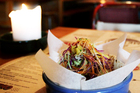 Mexico's pulled pork soft shell taco with pineapple, chilli and salsa. Photo / Sarah Ivey