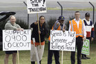 Union members protest outside the Horotiu Affco freezing works on State Highway 1. Photo / Richard Robinson
