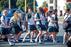 UNIFORMITY: Pupils from Westlake Girls head off for their Easter break. Photo / Neville Marriner