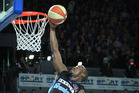 Breakers forward Cedric Jackson scores against the Perth Wildcats last night. Photo / Greg Bowker