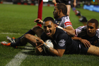 Krisnan Inu of the Warriors celebrates after scoring a try during the round 26 NRL match. Photo / Getty Images