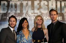 The cast of Battleship, from left, Taylor Kitsch, Rihanna, Brooklyn Decker, and Alexander Skarsgard. Photo / Shizuo Kambayashi