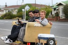 Josh Steeg went for a cruise on his couch yesterday. Photo / Hawke's Bay Today 