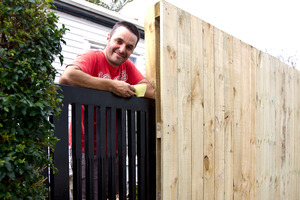 Justin Newcombe chose leaning height for his new gate. Photo / Dean Purcell