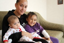 Raewyn Abraham with Rehutai, 3, and baby Rewi, who was an emergency delivery. Photo / Sue Ferens
