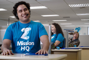 Ads for 2degrees featuring Rhys Darby (at back) ensured the brand made a big impact in the market - and quickly. Photo / Supplied