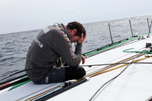 Brad Marsh after Groupama was dismasted. Photo / Groupama Sailing Team