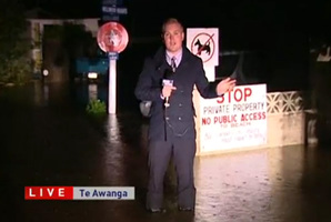 TVNZ reporter Matt McLean has gone to extreme lengths to cover the weather. Photo / Supplied
