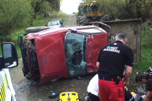 A teenage girl's head was trapped under the ute which flipped over at Masons Flat in North Canterbury. Photo / Supplied