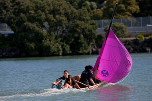 The girls from the Tamatea high School Napier, Kaylah Robertson on the sail and Teena Boxer at the stern. Photo / Chris Loufte