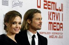 Brad Pitt and now-fiancée Angelina Jolie at the Oscars. Photo / AP