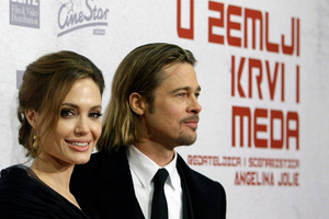Brad Pitt and now-fiancée Angelina Jolie at the Oscars. Photo / AP