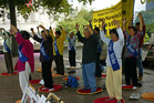 Chinese Falun Gong members. Photo / Geoff Dale