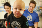 Chace Topperwien, 3, from Hamilton, who suffers from leukaemia, has begun a new drug trial in England. Photo / Greg Bowker
