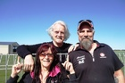 Masterton's Mal Harley and Andrea Cook had the chance to meet Billy Connolly at Hood Aerodrome over Easter. Photo / Supplied
