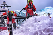 Stuart Bannatyne and Adam Minoprio on watch as CAMPER pass into the 'furious fifties' on their way South to Cape Horn during leg 5 of the Volvo Ocean Race. Photo / Hamish Hooper