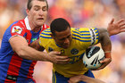 Ben Roberts of the Eelsis tackled during the round six NRL match between the Newcastle Knights and the Parramatta Eels. Photo / Getty Images.