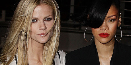 Rihanna and Brooklyn Decker arrive at the Battleship Australian premiere at Luna Park.