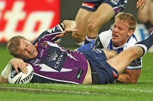 Ryan Hinchcliffe of the Storm scores a try. Photo / Getty Images