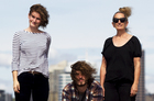(Left to right) Holly, Isaac and Kim Evans at Belmont Wharf. Photo / Steven McNicholl