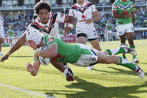 Jarrod Croker of the Raiders scores a try during the round six NRL match between the Canberra Raiders and the New Zealand Warriors. Photo / Getty Images.