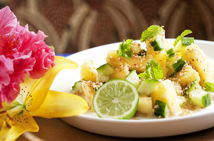 Sesame, pineapple and cucumber salad. Photo / Babiche Martens