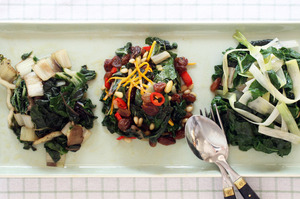 Three ways with silverbeet: sauteed with currants, orange and chilli; with leek. Photo / Janna Dixon