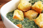 Silverbeet is a versatile veg and is shown here creamed with nutmeg and served in a soup with garlic croutons. Photo / Janna Dixon