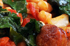 Chickpea, chorizo and silverbeet stew. Photo / Janna Dixon