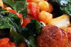 Chickpea, chorizo and silverbeet stew. Photo / Janna Dixon