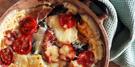 Silverbeet and potato gratin is a real winter warmer. Photo / Janna Dixon