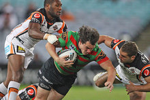 Dave Tyrell originally played wing for the Rabbitohs but will start at prop against the Warriors. Photo / Getty Images