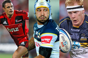 Daniel Carter of the Crusaders, Jonathan Thurston of the Cowboys and the Brumbies' Peter Kimlin. Photo / Getty Images