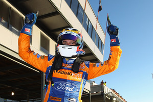 Will Davison driver of the #6 Tradingpost FPR Ford celebrates his win. Photo / Getty Images